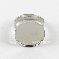 FREE SHIPPING 120PCS Adjustable Ring Base Blank Glue-on 18mm ROUND #20553