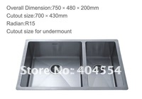 Double Bowls Stainless Steel Sink Kitchen Sink 7548