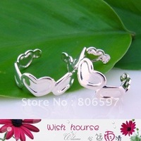 Free shipping (50pieces/lot) wholesale brass material silver plated fashion heart linked toe ring for women O21A