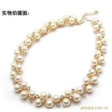 3pcs/lot Rhinestone Pearl Necklace Collar Jewelry,Choker Collar,Choker Necklace(China (Mainland))