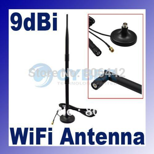 2.4GHz 9dBi WIFI wireless Antenna Omni Indoor directional with extended cable RP-SMA Plug Magnet Base(China (Mainland))