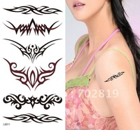 Free shipping 100% New Colorful Temporary Tattoo Sticker Decal Paster 6 Designs :Cat+Butterfly+2Flowers+Anchor Fluke Hook+Armlet