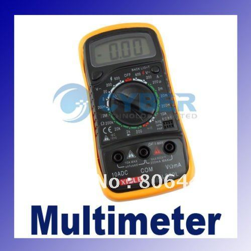 LCD Digital Multimeter AC DC Ohm VOLT Meter Voltmeter Ohmmeter Ammeter Yellow Back Cover dropshipping(China (Mainland))