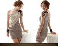 free shipping Y1975 Man oblique shoulder drape chain novelty party dress 2011