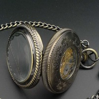 Elegant Bronze Tone Mechanical Black Dial Pocket Watch