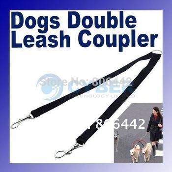 Two Way Double Leash Coupler Walk 2 Dogs 1 Lead nylon swivel snap Black 710