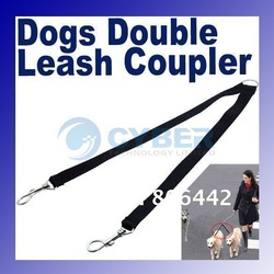 Two Way Double Leash Coupler Walk 2 Dogs 1 Lead nylon swivel snap Black Free Shipping(China (Mainland))