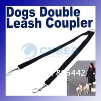Two Way Double Leash Coupler Walk 2 Dogs 1 Lead nylon swivel snap Black 710