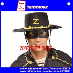 Adult Zorro Mask Eye & Hat Set Combo for Party/ Masquerade/ carnival / Halloween / Movie Sample Free Shipping 5set/lot#A08035(China (Mainland))