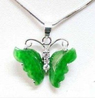 china beijing charming silver green jade butterfly pendant & necklace free shopping