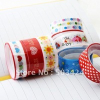 Free shipping+100pcs/lot+Brand New Stationary Color Adhesive Tape, Cartoon Stick Tape