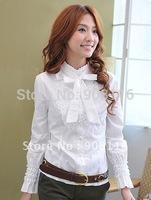 Korean Stylish womens fashion long-sleeved shirts casual shirts/blouse dress shirts,top blouses, Black/White/Gray 1pcs/lot X133