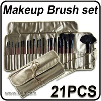21 Pieces Professional Makeup Brush Set Cosmetic Make up Brushes Kit With Golden Pouch Bag Gift Free Shiping