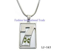 "Free shipping, Hot sale! Rectangle shape fashion necklace pendant real four leaf clover,""7"" embeded cool jewelry,free gift box"