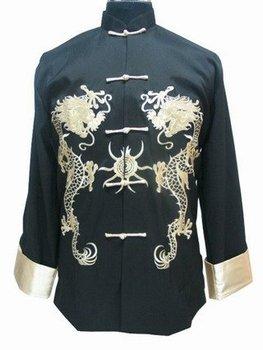 Черный Chinese Men's Атлас Полиэстер Embroider Jacket Coat Dragon S-3XL  and ...