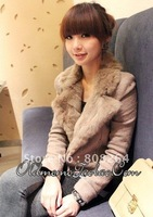 Free shipping!!fuzzy collar women's coat/long coat/lady's coat/warm in winter