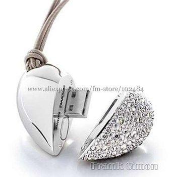 Big Discount! 4GB heart shape crystal usb flash drive,usb flash memory,usb disk as birthday gift Drop Shipping