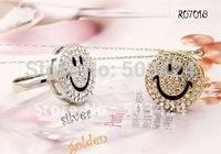 Free shipping+12pcs/lot+Lovely Smiling CZ Diamond Resizable ring jewelry