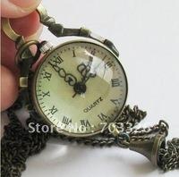 10pcs/lot 2011 new fashion Vintage Antique Bronze Glass Ball Pocket Watch Pendent Necklaces WN026