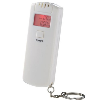 Cheap LCD display alcohol breath tester with red backlight display and keychain free shipping