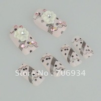 10boxs/lot (24pcs/box) 3D Acrylic Nail Art False Fake Nail Tips With Nail Glue Fashion Nail 63 Style