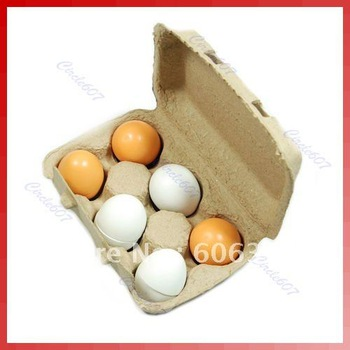 6pcs Wooden Eggs Yolk Educational Interesting Kid Toy