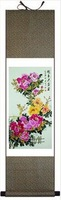 So Nice 100*30 Chinese Silk Peony Flower Painting FN-H012 Cut 5% Off Factory Direct Gifts,New arrivals,Free shipping
