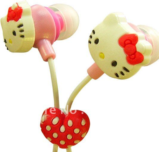 cute hello kitty cherry mp3 earphone, wholesale, free shipping(China (Mainland))