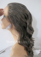 wholesale short length  remy hair french lace gray human hair full lace wig for old woman