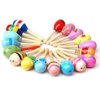 Baby training toys 50pcs Hot Sale Wooden Toy Rattle Cute Mini Baby Sand Hammer Wholesale+ free shipping
