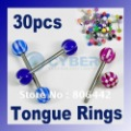 Mixed lots 30 crafted Acrylic tongue Nipple Rings Ball Piercing Barbell body jewelry fashion