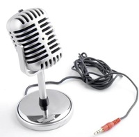New lot 3.5mm Retro Microphone MIC Desktop Stand PC Laptop ef fast shipping
