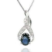 Wholesale fashion jewelry sterling silver pendant genuine sapphire pendant promotion freeshipping SP0181S