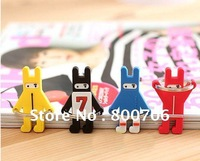 Free Shipping 30 Korea Carton Ninja Rabbit Rubber Key Chain  Key Ring Keychain