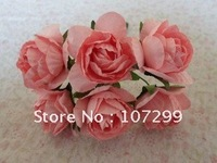 Free Shipping-New Arrival 144pc PINK Handmade Mini Paper Rose Flower for Wedding Invitation Card Scrapbook Card Making DIY Craft