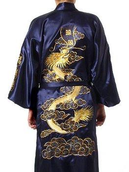 Темно синий Синий Chinese Men's Шелк Атлас Embroider Kimono Robe Gown Dragon ...