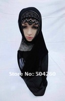 LRD83008 Free shipping black muslim lace inner hats with diamond in only one colors