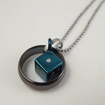 10pcs Stainless Steel dice ring Pendant blue color man Cross pendant Necklace Titanium Steel circle Pendant