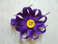 Wholesale Free shipping 120pcs/lots Purple hair flower hair clips Daisy Flower Button Clips Christmas bow for baby