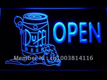 054-b Duff Beer OPEN Bar Girl Neon Light Sign
