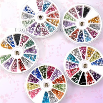 3000pcs Nail Art Glitter 5x Wheels BIG Rhinestone Gems nail stone Decoration Products Beauty Tips wholesale