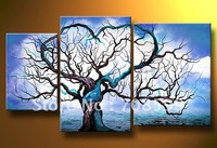 Pop art abstract trees and blue sky Guaranteed 100% hand-painted Tree  Abstract Oil Painting on Canvas