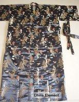 Free Shipping Black Chinese Men's Silk Satin Robe Kimono with Dragon Phenix Gown RG-08 S M L XL XXL XXXL