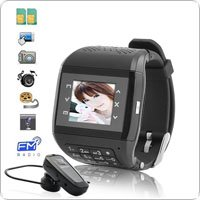 W08 Dual SIM 1.5'' Touchscreen Watch Cellphone with Keypad + Wireless Transmission