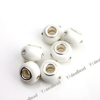 Wholesale - 30pcs New White Rhinestone Glass Beads Murano Charms Beads Fit Beads Bracelets DIY Have in Stock 151603