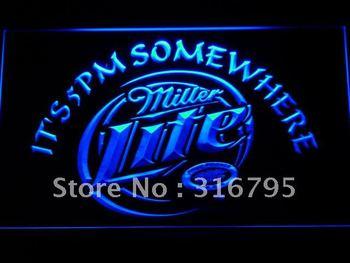 407-b Miller Lite It's 5 pm Somewhere Neon Light Sign