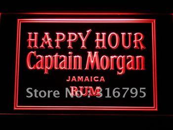641-r Captain Morgan Rum Happy Hour Bar Neon Light Sign
