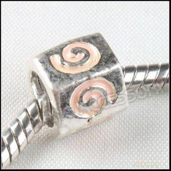 60pcs/lot Wholesale Alloy Bead Hexagon Sliver Plated Beads Beige Enamel Bead Fit European Bracelet Making 151285