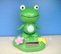 Free shipping 5Pcs Per Lot  Magic Cute Frog  No battery Swing At Every Pore Under Sunshine Solar Gift Solar Toy