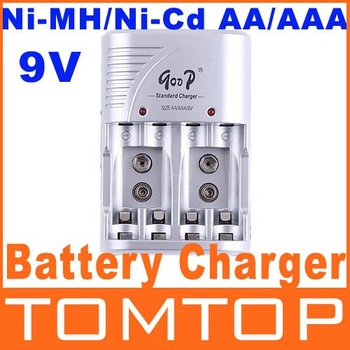 EU Plug, Ni-MH/Ni-Cd AA/AAA/ 9V Rechargeable Battery Charger battery pack charger free shipping Wholesale